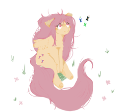 Size: 1000x900 | Tagged: safe, artist:fawndishsoap, fluttershy, butterfly, pegasus, pony, female, floppy ears, fluffy, grass, looking at something, looking up, mare, pink eyes, sitting, solo, three quarter view, wings, wrong eye color