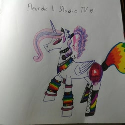 Size: 966x966 | Tagged: safe, artist:shards_of_black_glass, oc, oc only, alicorn, alicorn oc, female, horn, mare, raised hoof, solo, traditional art, wings