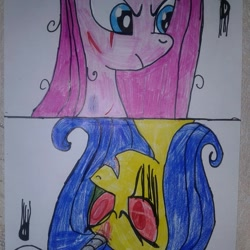 Size: 966x966 | Tagged: safe, artist:shards_of_black_glass, pinkie pie, oc, earth pony, pony, unicorn, angry, duo, female, frown, horn, makeup, mare, pinkamena diane pie, running makeup, scar, traditional art, unicorn oc
