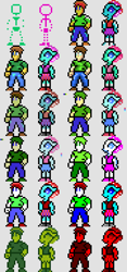 Size: 360x768 | Tagged: safe, artist:derek the metagamer, ocellus, oc, oc:dirk wise, changedling, changeling, human, anthro, aseprite, cga, clothes, commodore 64, commodore64, game boy, gameboy color, nintendo entertainment system, palette swap, pixel art, recolor, self insert, sprite, sunglasses, super nintendo, virtualboy