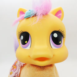 Size: 886x886 | Tagged: safe, scootaloo (g3), earth pony, pony, g3, baby, baby pony, duckface, female, filly, foal, irl, nightmare fuel, photo, so soft, solo, toy