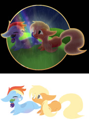 Size: 759x1052 | Tagged: safe, artist:glorymoon, applejack, rainbow dash, earth pony, pegasus, pony, appledash, female, lesbian, mare, pregnant, shipping