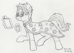 Size: 872x624 | Tagged: safe, artist:hericks, oc, oc only, book, cloak, clothes, coffee, coffee cup, cup, doodle, looking at you, socks (coat markings)