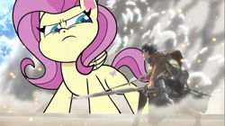 Size: 956x537 | Tagged: artist needed, safe, fluttershy, human, pegasus, pony, death of a sales-pony, my little pony: pony life, pony life, angry, anime, attack on titan, crossover, duo, female, giantess, giantshy, macro, male
