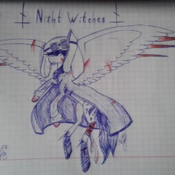 Size: 1080x1080 | Tagged: safe, artist:shards_of_black_glass, pegasus, pony, blood, clothes, coat, female, flying, graph paper, mare, ponified, soldier, traditional art, world war ii