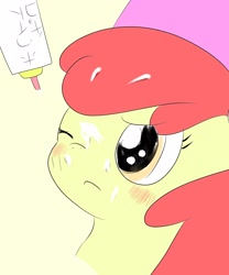 Size: 1701x2048 | Tagged: artist needed, safe, apple bloom, earth pony, pony, blushing, closed eye, female, filly, glue, japanese, messy, one eye closed, solo, upset