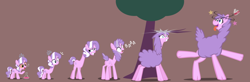 Size: 1200x395 | Tagged: safe, artist:magerblutooth, diamond tiara, earth pony, giraffe, hybrid, llama, pony, series:mlp transformed, bleating, bonk, bottle, brown background, bubble, circling stars, commission, dizzy, emanata, faded cutie mark, female, filly, giraffied, gritted teeth, growth, jewelry, llamafied, long neck, mental shift, milk carton, onomatopoeia, open mouth, potion, raised leg, sheepish grin, show accurate, simple background, species swap, story included, swirly eyes, tiara, tongue out, transformation, transformation sequence, tree, tree branch, vector, wide eyes