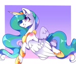 Size: 1080x915 | Tagged: safe, artist:tessa_key_, princess celestia, alicorn, pony, abstract background, female, hoof shoes, horn, jewelry, mare, peytral, signature, smiling, solo, tiara, wings
