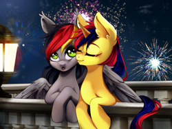 Size: 2000x1500 | Tagged: artist needed, source needed, safe, screencap, oc, oc only, pony, commission, couple, cute, kissing, wings