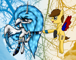 Size: 1376x1080 | Tagged: safe, artist:shycookieq, oc, oc only, alicorn, pegasus, pony, abstract background, alicorn oc, collaboration, female, flying, glasses, hoofbump, horn, leg warmers, mare, pegasus oc, smiling, two toned wings, wings