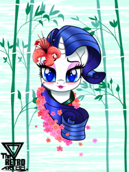 Size: 1200x1599 | Tagged: safe, artist:theretroart88, rarity, pony, unicorn, blushing, bust, eyeshadow, female, flower, flower in hair, lipstick, looking at you, makeup, mare