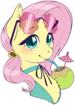 Size: 2239x3152 | Tagged: safe, artist:taytinabelle, fluttershy, pegasus, pony, blushing, bust, chest fluff, clothes, coconut, collar, cute, drinking, drinking straw, ear fluff, female, food, hairclip, high res, looking at you, mare, shyabetes, simple background, solo, sunglasses, sunglasses on head, swimsuit, transparent background