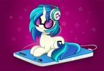 Size: 4096x2816 | Tagged: safe, artist:kittyrosie, dj pon-3, vinyl scratch, pony, unicorn, digital art, female, headphones, high res, ipod, mare, mp3 player, solo