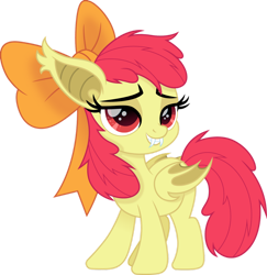 Size: 1280x1317 | Tagged: safe, artist:cloudyglow, apple bloom, bat pony, bat ponified, bloombat, female, filly, race swap, solo, vector