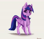 Size: 3210x2844 | Tagged: safe, artist:miokomata, twilight sparkle, alicorn, pony, chest fluff, cute, female, high res, looking at you, mare, simple background, smiling, smiling at you, solo, twiabetes, twilight sparkle (alicorn)