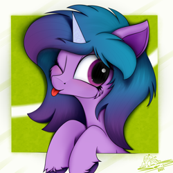 Size: 4000x4000 | Tagged: safe, artist:ser-p, izzy moonbow, pony, unicorn, g5, abstract background, absurd resolution, cheek fluff, cute, female, hoof fluff, izzybetes, mare, one eye closed, signature, solo, tongue out, unshorn fetlocks, wink