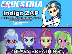 Size: 2160x1620 | Tagged: safe, artist:forzaveteranenigma, indigo zap, lemon zest, sour sweet, sugarcoat, sunny flare, fanfic:equestria motorsports, fanfic:shadowbolts racing, equestria girls, angry, betrayal, betrayed, clothes, cutie mark, cutie mark on clothes, forza motorsport, racing suit, serious, serious face, shadowbolts, simple background, watermark, youtube link in the description