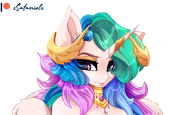Size: 3777x2521 | Tagged: safe, artist:xsatanielx, princess celestia, anthro, advertisement, female, mare, patreon, patreon logo, patreon preview, paywall content