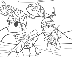 Size: 3800x3000 | Tagged: safe, artist:pizzamovies, earth pony, pony, assault rifle, born to kill, clothes, gun, helicopter, helmet, m16, male, monochrome, rifle, stallion, uniform, vietnam war, weapon