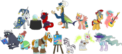 Size: 4715x2088 | Tagged: safe, artist:shadymeadow95, flash magnus, meadowbrook, mistmane, rockhoof, somnambula, star swirl the bearded, oc, oc:bunduki, oc:graveyard grim, oc:msanii, oc:plasma stream, oc:screech, oc:vampire eclipse, buffalo, draconequus, ghoul, kirin, pony, robot, robot pony, undead, zebra, canvas, crystal ball, guitar, hat, musical instrument, pillars of equestria