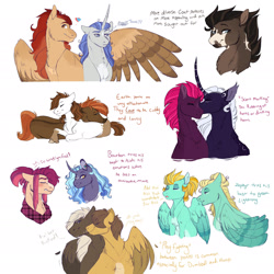 Size: 1920x1918 | Tagged: safe, artist:glorymoon, button mash, dumbbell, hoops, lightning dust, pipsqueak, princess luna, tempest shadow, zephyr breeze, oc, oc:coastal blast, oc:texas hotsprings, pony, alternate design, lying down, older, prone