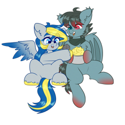 Size: 2000x2000 | Tagged: safe, alternate version, artist:etoz, oc, oc only, oc:ange hightower, oc:mystery iris, bat pony, pegasus, pony, bat pony oc, bat wings, clothes, commission, fangs, female, food, happy, male, mare, pegasus oc, popcorn, scarf, simple background, sitting, smiling, stallion, transparent background, wings