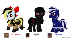 Size: 3510x1900 | Tagged: safe, artist:lonewolf3878, black widow, earth pony, monster pony, original species, pony, spider, spiderpony, tarantula, unicorn, ashes town, bow, chest fluff, ear fluff, garden spider, hair bow, ponified, species swap