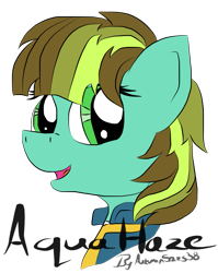 Size: 915x1152   Tagged: safe, artist:pegasski, oc, oc only, oc:aqua haze, earth pony, pony, fallout equestria, bust, clothes, earth pony oc, eyelashes, female, mare, simple background, solo, transparent background, vault suit