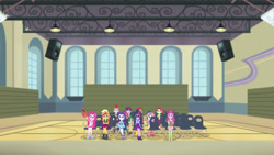 Size: 3410x1920 | Tagged: safe, screencap, apple bloom, cheerilee, derpy hooves, pinkie pie, rarity, sci-twi, scootaloo, sunset shimmer, sweetie belle, twilight sparkle, equestria girls, equestria girls series, fluttershy's butterflies, apple bloom's bow, audience, boots, bow, bowtie, bracelet, clothes, crossed arms, cute, cutie mark crusaders, diapinkes, female, fluttershy's butterflies: applejack, geode of empathy, geode of shielding, geode of sugar bombs, geode of telekinesis, glasses, hair bow, hairpin, high heels, jacket, jewelry, leather, leather jacket, magical geodes, male, necklace, offscreen character, open mouth, ponytail, rarity peplum dress, shoes, tanktop