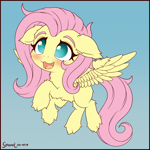 Size: 1750x1750 | Tagged: safe, artist:symbianl, fluttershy, pegasus, pony, :d, blushing, chibi, cute, cute little fangs, fangs, fluffy, missing cutie mark, no pupils, open mouth, open smile, shyabetes, smiling, solo