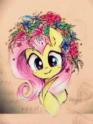 Size: 2153x2871 | Tagged: safe, artist:liaaqila, fluttershy, flower, flower in hair, traditional art