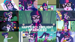 Size: 1280x721 | Tagged: safe, edit, edited screencap, editor:quoterific, screencap, sci-twi, twilight sparkle, dance magic, do it for the ponygram!, eqg summertime shorts, equestria girls, equestria girls series, forgotten friendship, i'm on a yacht, mad twience, my little shop of horrors, school of rock, spring breakdown, stressed in show, stressed in show: fluttershy, sunset's backstage pass!, text support, text support: rarity, the finals countdown, twilight under the stars, spoiler:eqg series (season 2), spoiler:eqg specials, ^^, bowtie, cute, dance magic (song), eyes closed, female, geode of telekinesis, glasses, jewelry, magical geodes, microphone, microphone stand, necklace, open mouth, ponied up, ponytail, singing, sleeveless, smiling, smug, smuglight sparkle, solo, twiabetes, wings