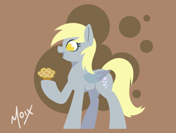 Size: 2125x1597 | Tagged: safe, artist:supermoix, derpy hooves, pegasus, pony, cute, female, food, happy, lineless, mare, muffin, no pupils, simple background, solo, wings