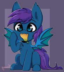 Size: 1813x2048 | Tagged: safe, artist:sakukitty, oc, oc:stardust, bat pony, pony, bat pony oc, biting, cute, food, mango, smol, weapons-grade cute