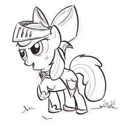 Size: 519x519 | Tagged: safe, artist:sip, apple bloom, pony, armor, crusader, fantasy class, female, filly, knight, paladin, solo, warrior