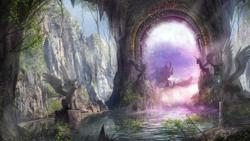 Size: 10000x5624   Tagged: safe, artist:zilvart, princess cadance, princess celestia, princess luna, twilight sparkle, alicorn, bird, pony, absurd file size, absurd resolution, canterlot, detailed, epic, fantasy, no pony, portal, portal to equestria, scenery, scenery porn, statue, tree, twilight sparkle (alicorn), wallpaper, water
