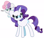 Size: 2688x2383 | Tagged: safe, artist:kindakismet, rarity, sweetie belle, pony, unicorn, angry, belle sisters, blushing, cute, diasweetes, duo, female, filly, high res, mare, siblings, simple background, sisters, sweetie belle is not amused, teary eyes, unamused, white background