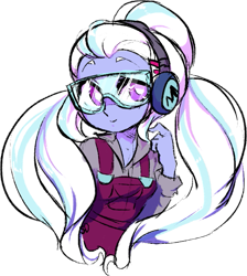 Size: 563x627 | Tagged: safe, artist:blastosunnydee, edit, sugarcoat, equestria girls, friendship games, clothes, cute, earmuffs, female, long hair, looking at you, overalls, safety goggles, simple background, sketchy, smiling, solo, sugarcute, transparent background