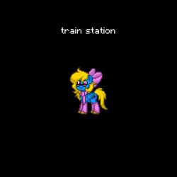 Size: 600x600 | Tagged: safe, oc, oc:train station, pegasus, pony, pony town, bow, clothes, pegasus oc, scarf