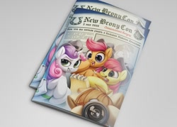 Size: 1077x769 | Tagged: safe, artist:zazush-una, apple bloom, scootaloo, sweetie belle, cover, cutie mark crusaders, newbronycon