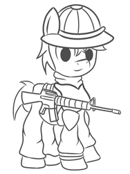 Size: 1500x2000 | Tagged: safe, artist:pizzamovies, oc, oc only, earth pony, pony, fallout equestria, armor, battle saddle, clothes, earth pony oc, fallout, fallout: new vegas, gun, helmet, looking at you, male, monochrome, new california republic, rifle, smiling, stallion, weapon
