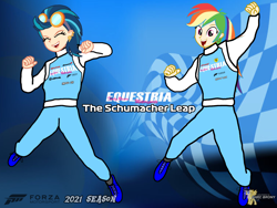 Size: 2160x1620 | Tagged: safe, artist:forzaveteranenigma, indigo zap, rainbow dash, human, fanfic:equestria motorsports, equestria girls, background, forza motorsport, human coloration, humanized, in the air, jumping, michael schumacher, racing, racing suit, watermark