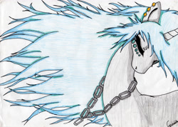 Size: 3454x2464 | Tagged: safe, artist:beamybutt, oc, oc only, pony, unicorn, bust, chains, eyes closed, horn, simple background, solo, traditional art, unicorn oc, white background