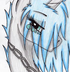 Size: 2382x2464 | Tagged: safe, artist:beamybutt, oc, oc only, oc:moonbeam, pony, unicorn, bedroom eyes, bust, chains, eye clipping through hair, eyelashes, high res, horn, simple background, solo, traditional art, unicorn oc, white background