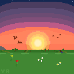 Size: 512x512 | Tagged: safe, artist:valuable ashes, pegasus, pony, cloud, pixel art, scenery, stars, story included, sun, sunset, tree