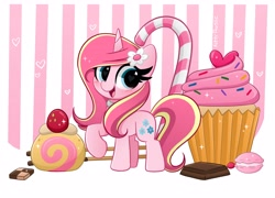 Size: 4096x2952   Tagged: safe, artist:kittyrosie, oc, oc:rosa flame, unicorn, candy, candy cane, chocolate, cupcake, desert, flower, flower in hair, food, horn, macaron, open mouth, raised hoof, solo, unicorn oc