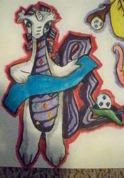 Size: 1277x1829 | Tagged: safe, artist:kiokutookasan, rarity, dragon, dragoness, dragonified, female, raridragon, solo, species swap, traditional art