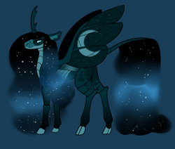 Size: 2600x2200 | Tagged: safe, artist:loryska, oc, changepony, hybrid, magical lesbian spawn, offspring, parent:nightmare moon, parent:queen chrysalis, simple background, solo