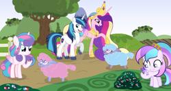 Size: 1024x550 | Tagged: safe, artist:velveagicsentryyt, princess cadance, princess flurry heart, shining armor, oc, oc:chryssa, pony, sheep, female, filly, offspring, older, parent:princess cadance, parent:shining armor, parents:shiningcadance, tiny ewes