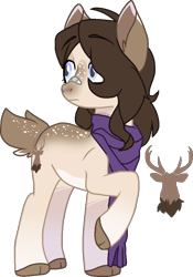 Size: 704x1006   Tagged: safe, artist:rickysocks, oc, oc:fawn flood, adopted offspring, deer tail, female, mare, offspring, parent:dumbbell, parent:fluttershy, parents:dumbshy, simple background, solo, transparent background
